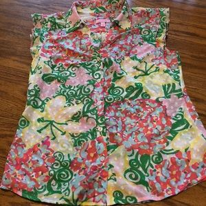 Lilly Pulitzer Dusti shirt in Lillys Pink Mariposa